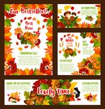 Autumn sale price discount shopping vector posters. Autumn Sale promo web banners and shopping discount bestsellers posters for 30 percent price off offer Royalty Free Stock Photography