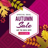 Autumn Sale Promoting Poster Template-Design stock abbildung