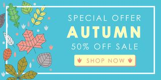 Autumn sale promotion advertising banner template decor with aut. Umn leaves design. Autumn leaf fall wallpaper. Voucher discount. Vector illustration Royalty Free Stock Images