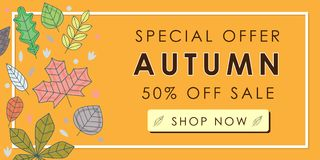Autumn sale promotion advertising banner template decor with aut. Umn leaves design. Autumn leaf fall wallpaper. Voucher discount. Vector illustration Stock Photos