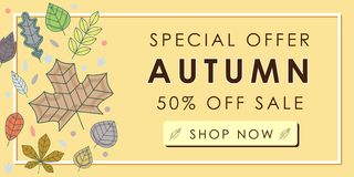 Autumn sale promotion advertising banner template with yellow au. Tumn leaves design. Autumn leaf fall wallpaper. Voucher discount. Vector illustration Royalty Free Stock Photos