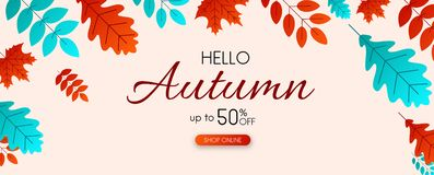 Autumn 50% sale. Promotion banner with color leaves. Autumn 50 sale. Promotion banner with color leaves. Shop online. Vector background. r Royalty Free Illustration