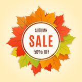 Autumn sale promotion banner, poster, card, background. Vector  Royalty Free Stock Photo