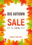 Autumn sale promotion banner, poster, card, background. Vector. Autumn sale promotion banner, poster, card, background Vector illustration Stock Photos