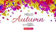 Autumn 50% sale. Promotion card with bright leaves. Autumn up to 50 off sale. Promotion card with bright leaves. Shop online. Vector background stock illustration