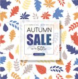 Autumn 50% sale. Promotion poster with color leaves pattern. Autumn up to 50 off sale. Promotion poster with color leaves pattern. Shop online. Vector royalty free illustration