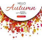 Autumn 50% sale. Promotion poster with color leaves. Autumn 50 sale. Promotion poster with color leaves. Shop online. Vector background Stock Illustration