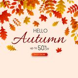 Autumn 50% sale. Promotion poster with golden leaves. Autumn up to 50 off sale. Promotion poster with golden leaves. Shop online. Vector background royalty free illustration