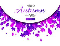 Autumn 50% sale. Promotion poster with purple leaves. Autumn 50 sale. Promotion poster with purple leaves. Shop online. Vector background Stock Illustration