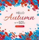 Autumn 50% sale. Promotion poster with color leaves. Autumn 50 sale. Promotion poster with red and blue leaves. Shop online. Vector background Vector Illustration