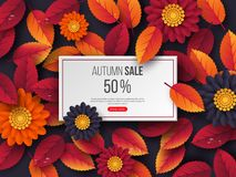 Autumn sale rectangular banner with 3d leaves, flowers and water drops. Violet background - template for seasonal. Discounts. Vector illustration vector illustration