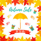 Autumn SALE RETAIL TEMPLATE, promotion, advertising with foliage frame Stock Photo