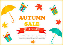 Autumn SALE RETAIL TEMPLATE, promotion, advertising with umbrellas and presents Stock Photo