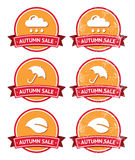 Autumn sale retro orange and red labels - grunge Royalty Free Stock Photos