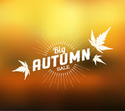 Autumn sale  retro poster. With abstract blurred fall background Stock Photos