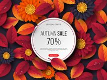 Autumn sale round banner with 3d leaves, flowers and water drops. Violet background - template for seasonal discounts. Vector illustration royalty free illustration