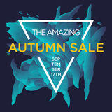 Autumn Sale. Sale web banners template for special offers advertisement. Trendy colors in a modern material design style. New autumn collection concept for Stock Photography