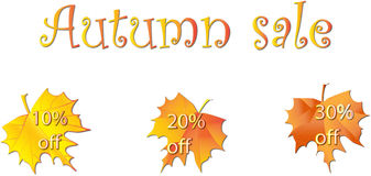 Autumn sale. S tags with discounts Stock Photography