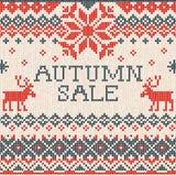 Autumn sale: Scandinavian style seamless knitted pattern with de Stock Photos
