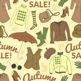 Autumn sale seamless pattern with season women Stock Images