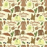 Autumn sale seamless pattern with season women Royalty Free Stock Images