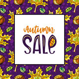 Autumn sale series. Vector seamless pattern with leaves and hazelnut, white board with autumn sale lettering and copy space, fall leaf background. Colorful Stock Image