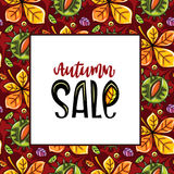Autumn sale series. Vector seamless pattern with leaves and hazelnut, white board with autumn sale lettering and copy space, fall leaf background. Colorful Royalty Free Stock Photography