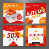 Autumn sale. Set with square discount banners. Vector illustration. With box, oak leaves and umbrellas vector illustration