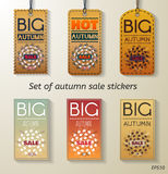 Autumn sale set of sticker. With in vintage style. Big sale banner with autumn leaves. Vector Illustration Stock Images