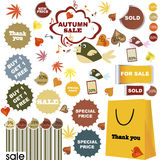 Autumn sale-set of stickers and labels Stock Photos