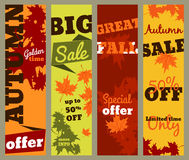 Autumn sale - set of vertical banners Stock Photos