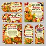 Autumn sale shop or farm market vector discount vector illustration