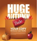 Autumn sale shopping bag background. Royalty free stock illustration for greeting card, ad, promotion, poster, flier, blog, article, social media, marketing vector illustration