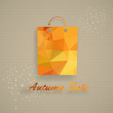 Autumn sale shopping bag in low-poly triangular style Royalty Free Stock Image