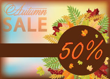 Autumn sale shopping card Stock Photo