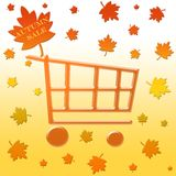 Autumn sale shopping cart. Autumn sale on maple leaf with shopping cart Royalty Free Stock Photo