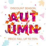 Autumn sale shopping discount vector poster fall maple leaf web banner Royalty Free Stock Image