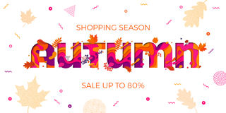 Autumn sale shopping discount vector poster fall maple leaf web banner. Autumn sale banner with maple leaf and multi color text carving layers on color gradient stock illustration