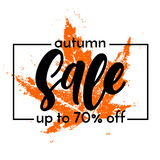 Autumn sale shopping discount vector poster fall maple leaf web banner. Autumn Sale banner with orange maple print background. Vector discount 70 percent off vector illustration