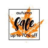 Autumn sale shopping discount vector poster fall maple leaf web banner. Autumn sale 70 percent off square banner. Vector discount offer with autumnal orange stock illustration
