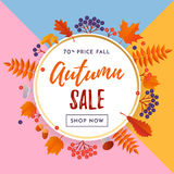 Autumn sale shopping discount vector poster fall maple leaf web banner Stock Photos