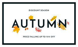 Autumn sale shopping discount vector poster fall maple leaf web banner Stock Photography