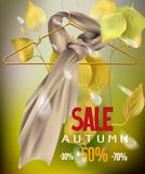 Autumn sale with silk scarf on the hanger and birch leaves. Vector illustration Royalty Free Stock Image