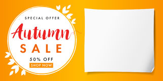 Autumn sale special offer paper banner. Autumn sale vector card template with lettering Special Offer 50% off shop now. Fall sale poster, card, label, banner Stock Photos