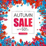 Autumn 50% sale. Promotion poster with color leaves. Autumn 50 sale. Special offer. Promotion poster with color leaves. Online shopping. Vector background. r Royalty Free Illustration