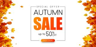 Autumn 50% sale. Promotion poster with orange leaves. Autumn 50 sale. Special offer. Promotion poster with orange leaves. Shop online. Vector background royalty free illustration