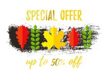 AUTUMN SALE Special Offer Up to 50 OFF banner design. Fat style autumn leaves and hand drawn brush stroke. Creative lettering for seasonal sales. Vector Vector Illustration