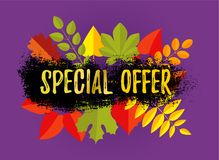 AUTUMN SALE Special Offer Up to 50 OFF banner design. Fat style autumn leaves and hand drawn brush stroke. AUTUMN SALE Special Offer banner design. Fat style stock illustration