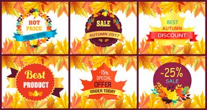 Autumn Sale Special Offer Vector Illustration. Autumn sale special offer on set of six colorful posters with discount advertisings among golden foliage. Vector Royalty Free Stock Photography