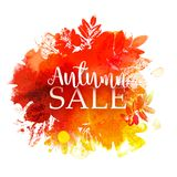 Autumn Sale with stamp leaves. Autumn sale Vector background with ink stamp leaves and painted watercolor splash. Season business discount circle Frame. Hand Stock Photo